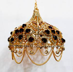 High Quality Gold Plated 6 Inches Chhattar with Mehroon & White Studs