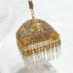 Gold Plated Square Shaped 4 Inches Chhattar with White Studs