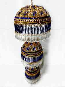 High Quality Round Shaped Gold Plated 3 In 1 Chhattar with Blue Studs