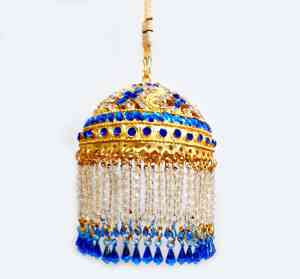 Gold Plated Round Shaped 3 Inches Chhattar with Blue Studs