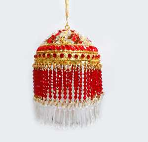 Gold Plated Round Shaped 3 Inches Chhattar with Red Studs