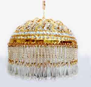 Gold Plated Round Shaped 3 Inches Chhattar with White Studs