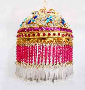 Gold Plated Round Shaped 3 Inches Chhattar with Multicolor Studs