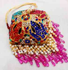 Gold Plated Square Shaped 6 Inches Chhattar with Multicolor Studs