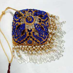 Gold Plated Square Shaped 6 Inches Chhattar with Blue Studs